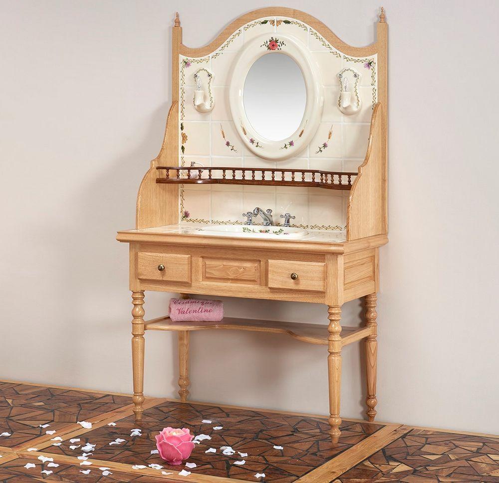 Coiffeuse : vasque, étagère, miroir, luminaire, tiroirs