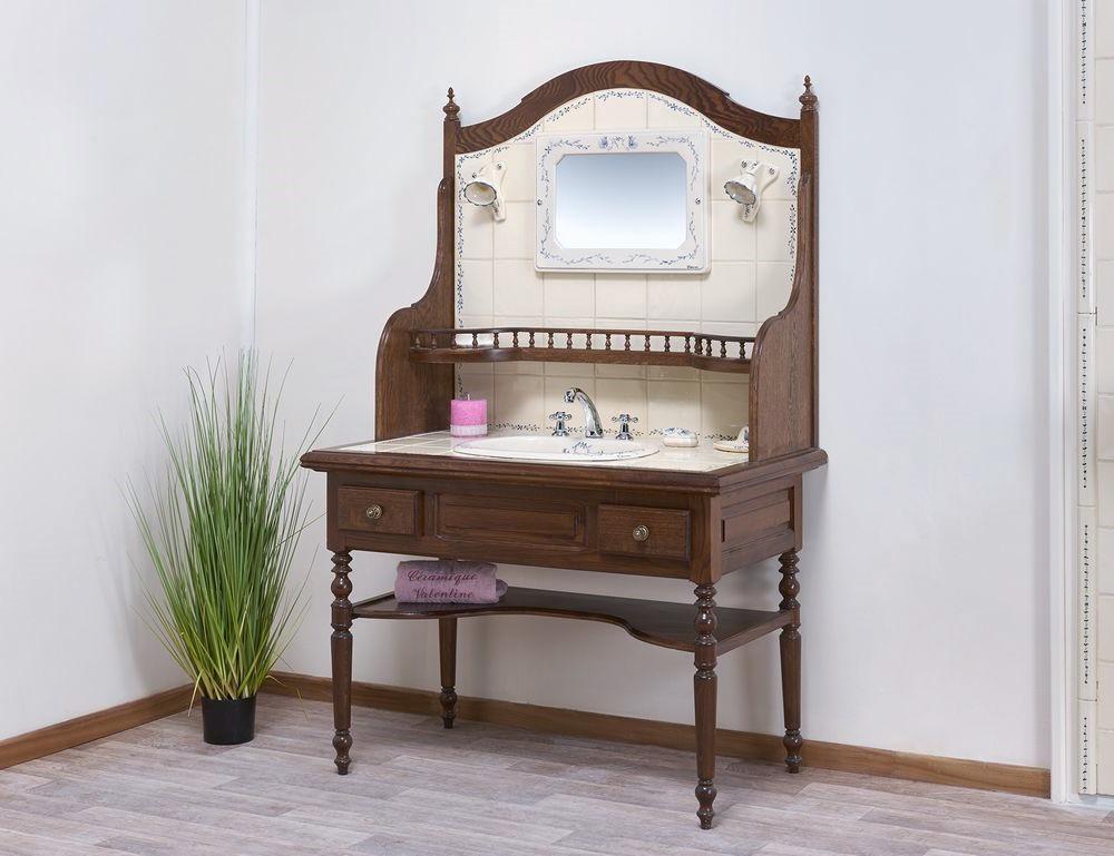 Coiffeuse : vasque, étagère, miroir, luminaire