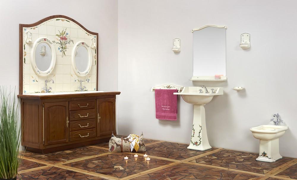Collection Camargue : meuble, vasque, porte-serviette, lavabo, bidet, miroir, luminaire