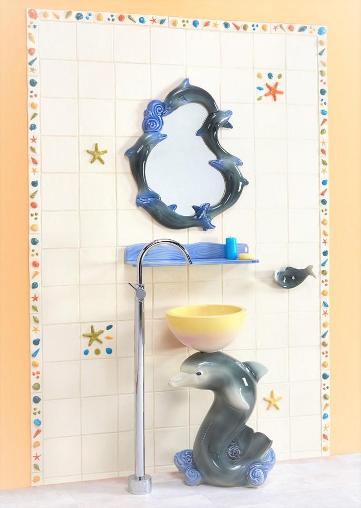 Collection Dauphin : lavabo, étagère, miroir, porte-serviette, carrelage
