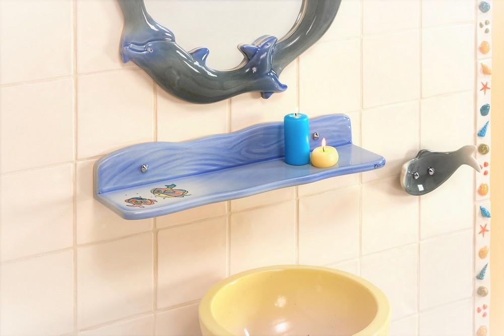 Collection Dauphin : vasque, étagère, miroir, porte-serviette