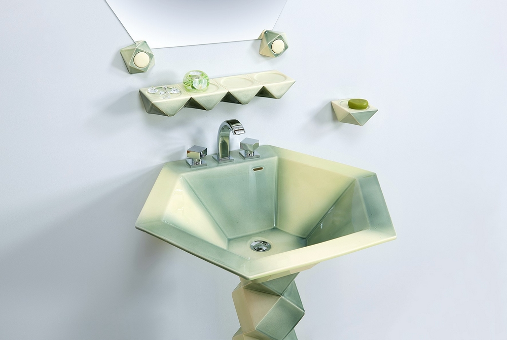 Collection Diamant : vasque, étagère, porte-savon, miroir