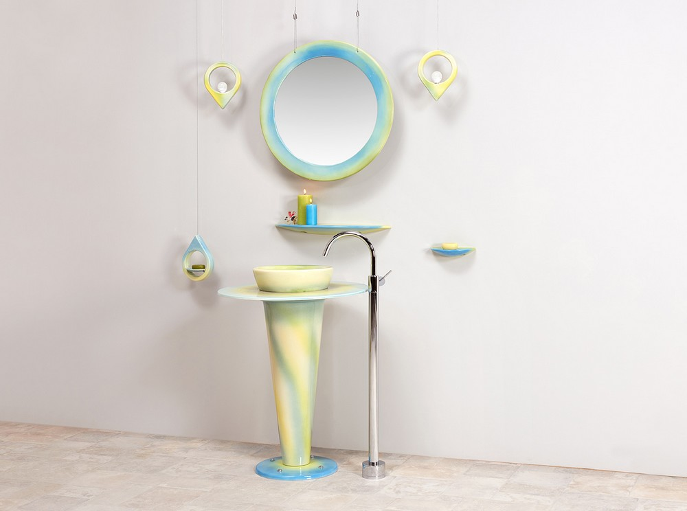 Collection Saturne : lavabo, suspension, miroir, étagère, porte-savon