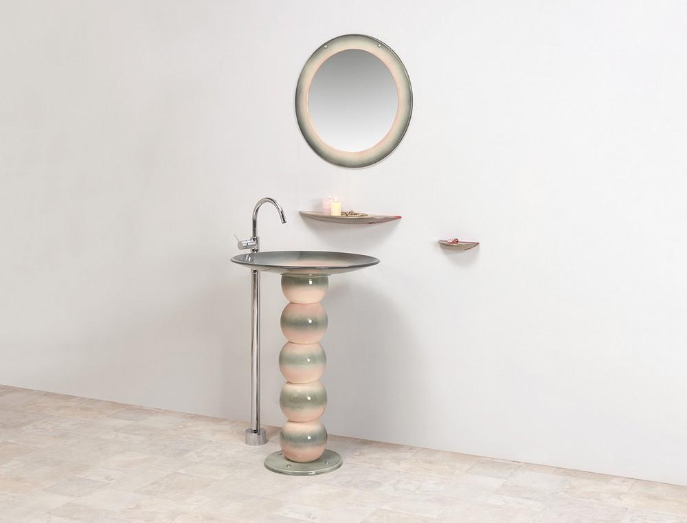 Collection Vénus : lavabo, étagère, porte-savon, miroir