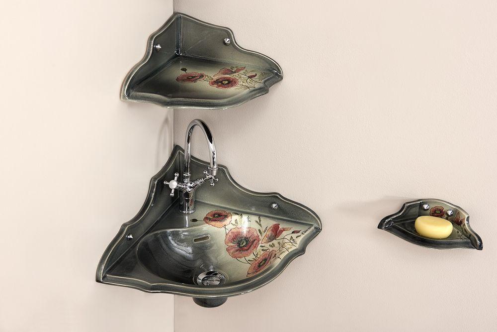 Lave mains Orage coquelicot : étagère d'angle, porte-savon