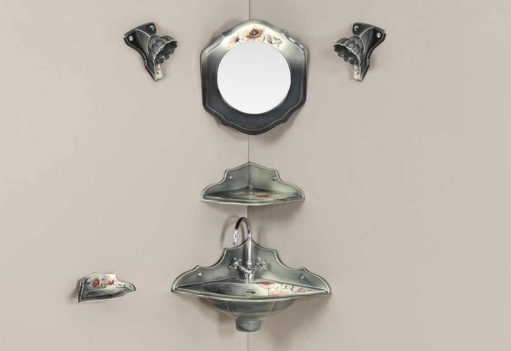Lave mains Orage coquelicot-gris : vasque, porte-savon, étagère d'angle, miroir, luminaire