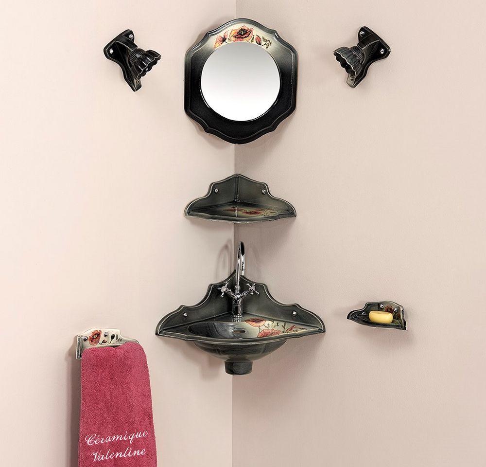 Lave mains orage coquelicot noir : porte-serviette, étagère d'angle, miroir, luminaire, porte-savon
