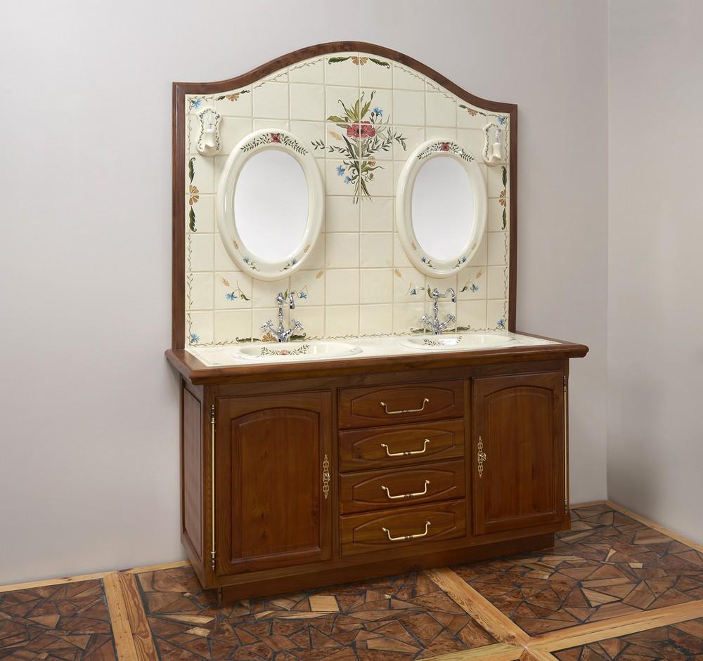 Meuble Poulx : vasque, miroir, luminaire, carrelage, tiroirs, placards