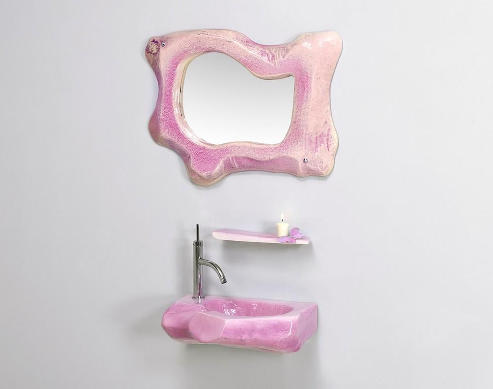 Vasque bois dormant : étagère, miroir