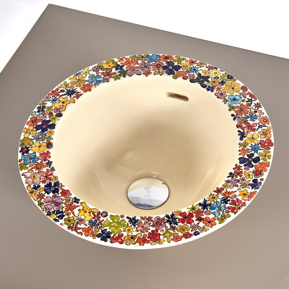 Vasque ronde fleuris